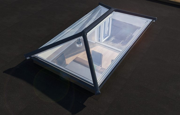 A small angled roof light