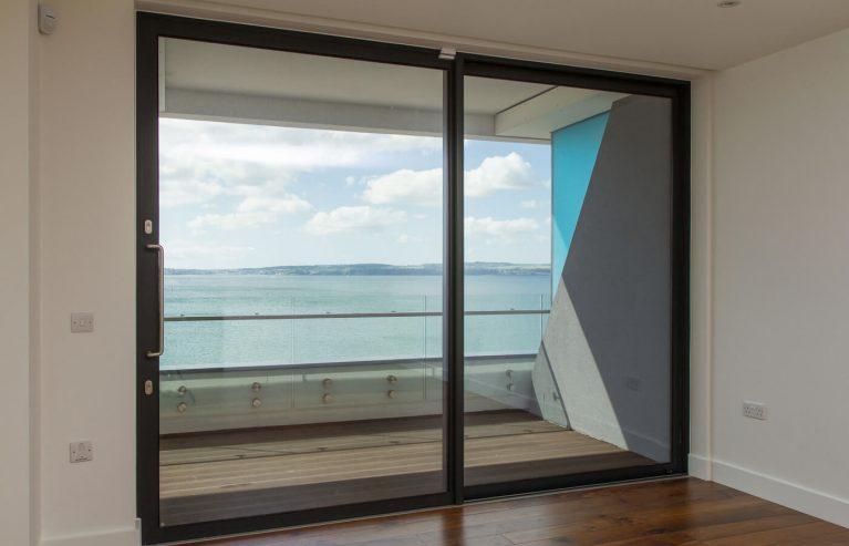Black aluminium sliding patio door interior view