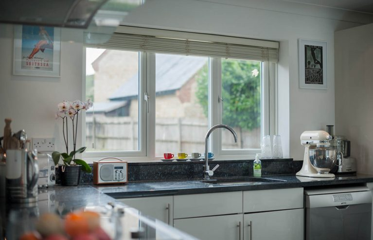 Interior view of uPVC casement windows in a kitchen