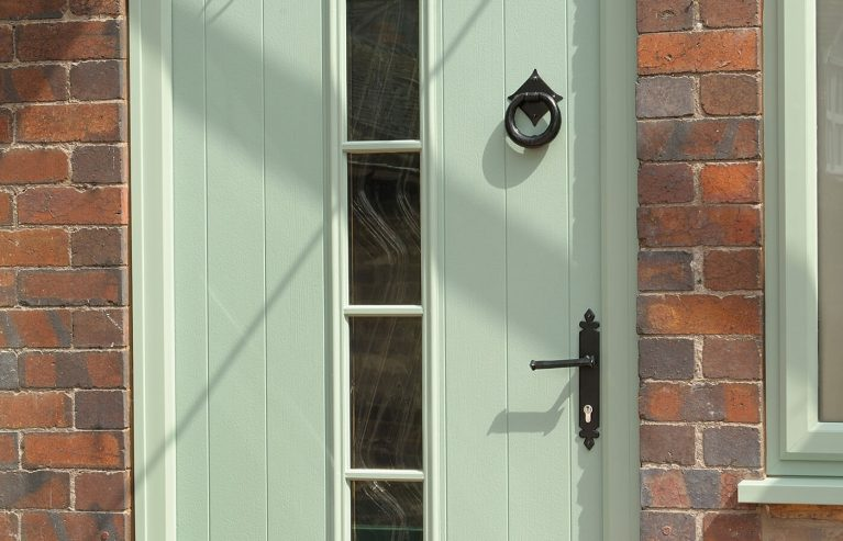 Traditional style composite door with traditional accessories