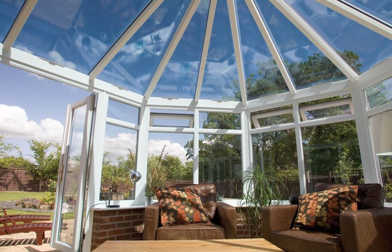White uPVC Victorian conservatory interior view