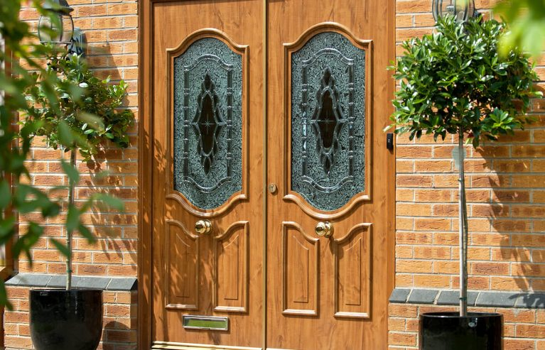 Dual golden oak uPVC entrance doors