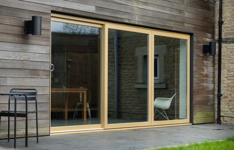 Large light oak effect sliding patio door