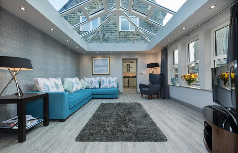 White uPVC orangery interior view
