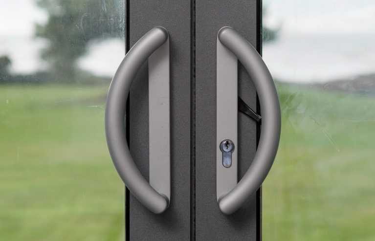 Close up of patio door handles