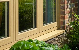 A uPVC window with mechanical joint weld to make it look like a real wooden window