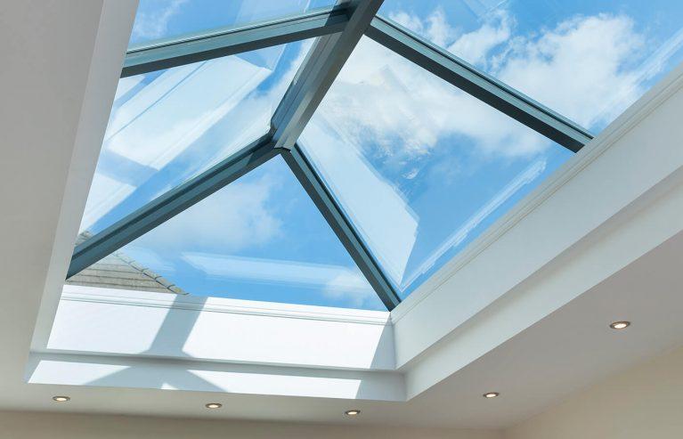 Black roof light interior view