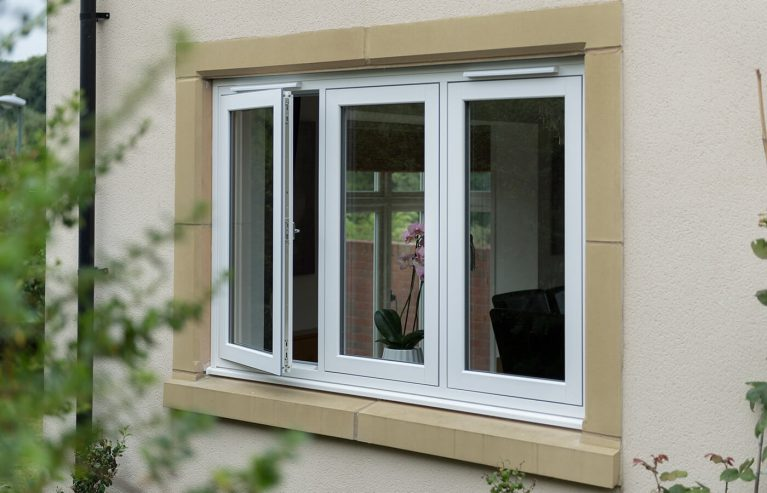 Flush sash window partially open