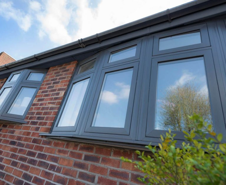 Anthracite Grey flush sash bay windows