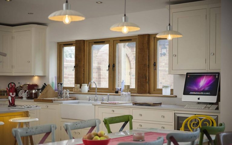 A modern kitchen with newly installed uPVC windows