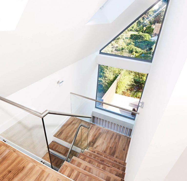 Angled aluminium windows interior view