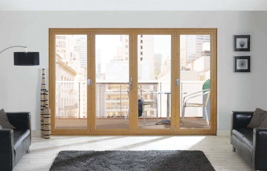Light oak effect bifold door interior view