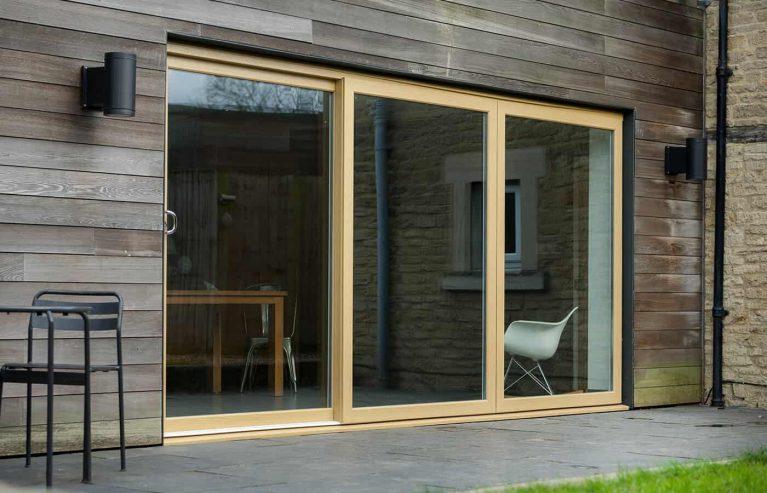 Large light oak effect sliding patio door