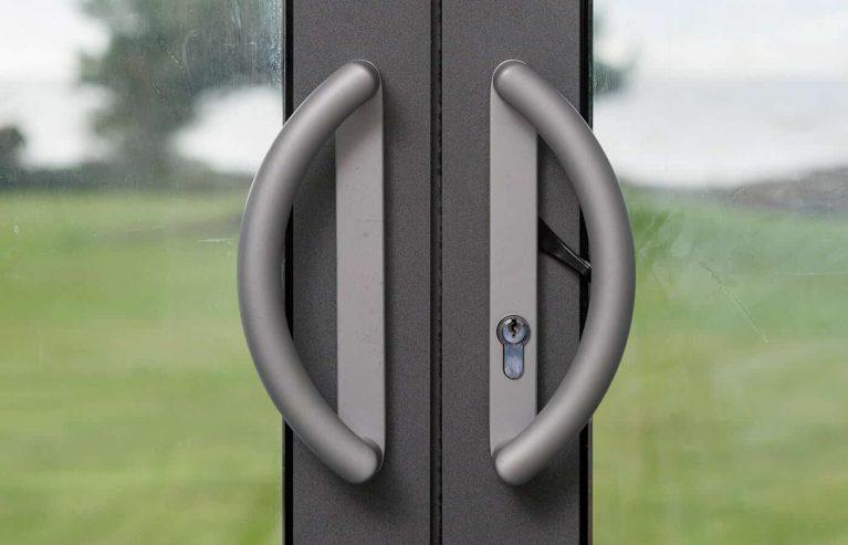 Close up of patio door handles